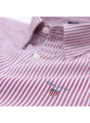 Gant Çizgili Slim Gömlek Kırmızı